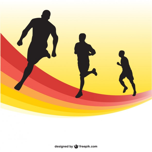 626x626 Running Race Silhouettes Background Vector Free Download