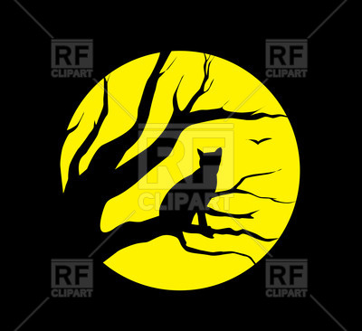 400x366 Silhouette Of Cat On Moon Background Royalty Free Vector Clip Art