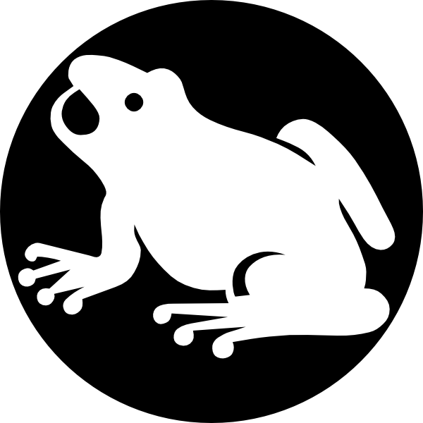 600x600 White Frog Silhouette With Black Background Clip Art