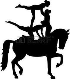 236x267 Mujer Cabalgando Horse Vaulting Silhouette With German Word