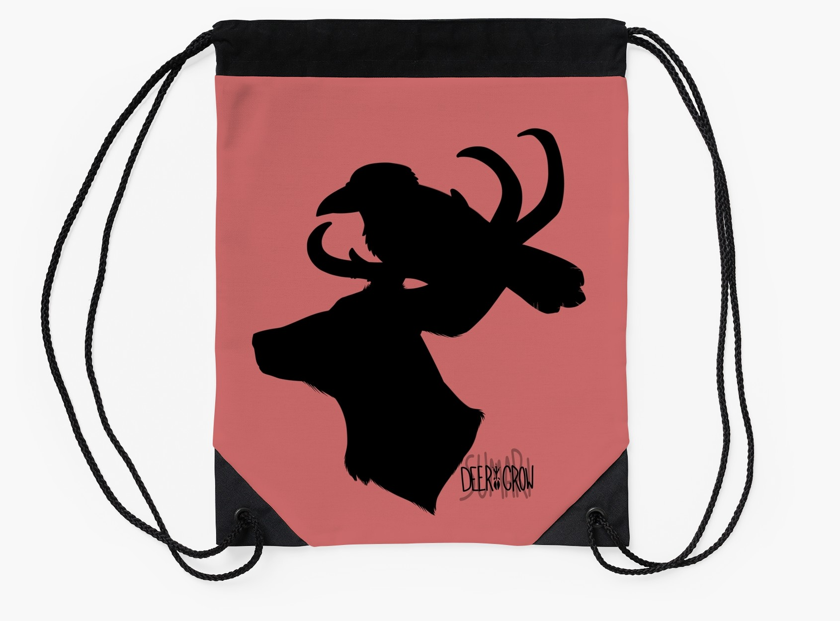 1690x1250 Deercrow Silhouette With Words Drawstring Bags By Deercrow
