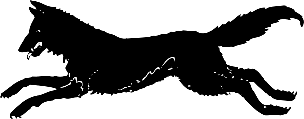 600x235 Running Wolf Silhouette Clip Art