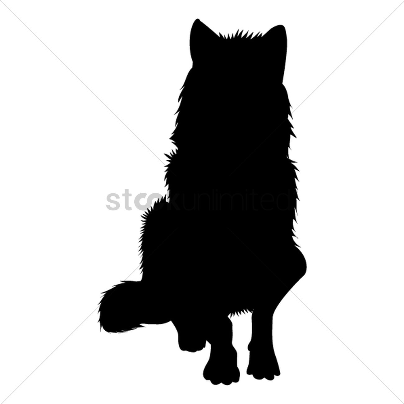 1300x1300 Silhouette Of Sitting Wolf Vector Image
