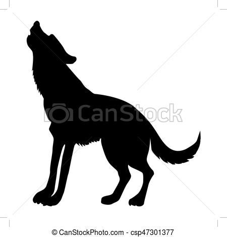 450x470 Silhouette Of Wolf Vectors Illustration