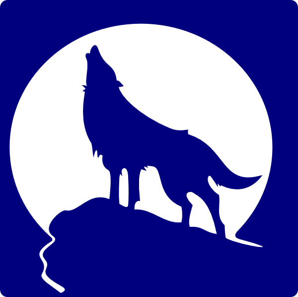600x597 Blue Wolf Silhouette To The Moon Clip Art