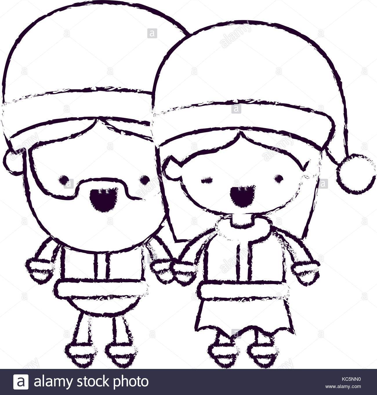 1300x1363 Santa Claus Couple Cartoon Full Body Man And Woman Smiling