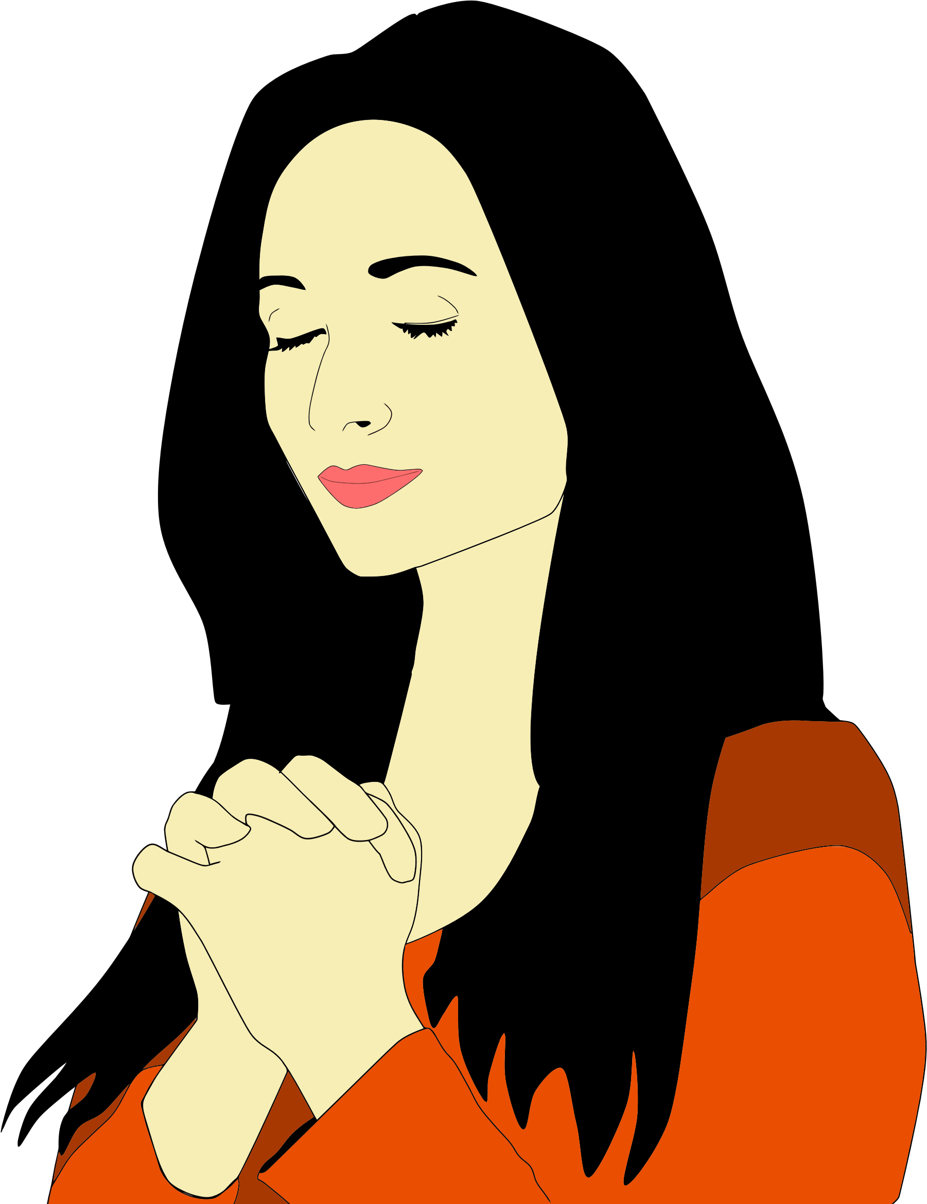 1801x2339 Praying Woman Clipart