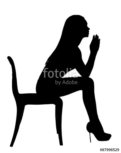 395x500 Silhouette Of A Woman Praying Of The Chair Stock Photo