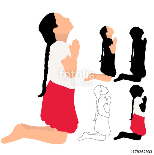 495x500 Silhouette Little Girl Praying, Sketch Stock Image And Royalty