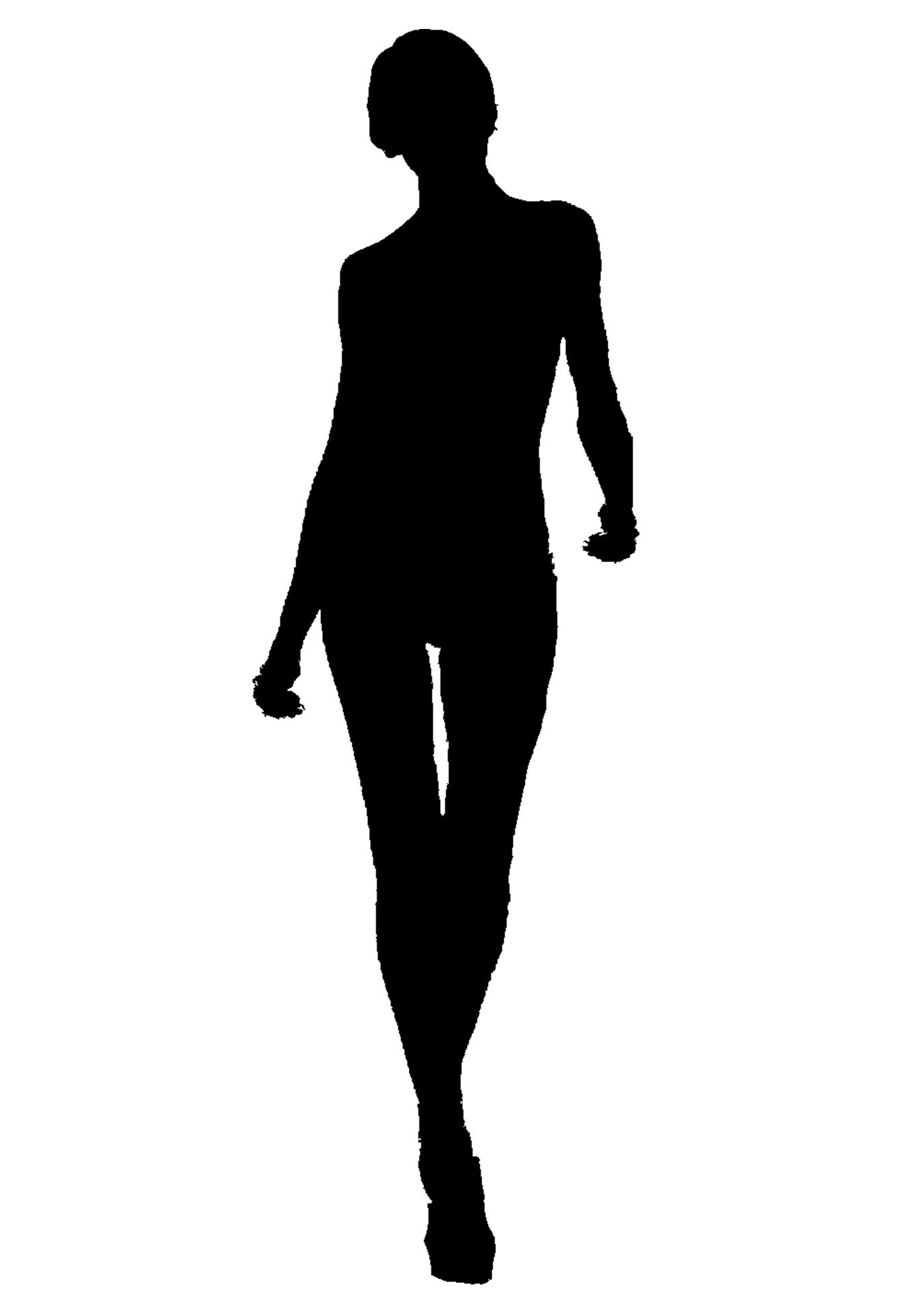 Silhouette Woman Walking Away