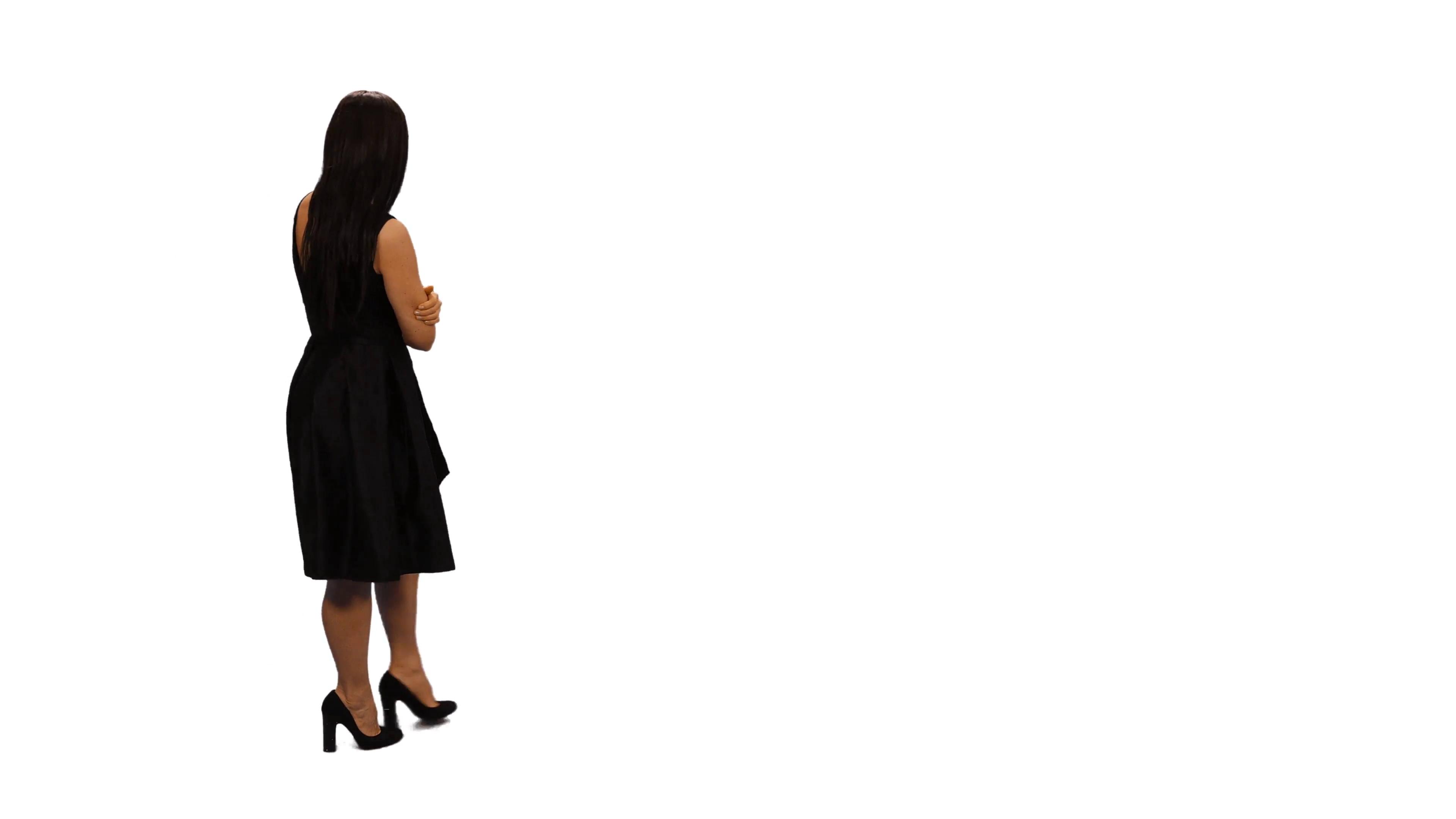 3840x2160 Back View Of An Elegant Young Woman Walking Amp Watching Something