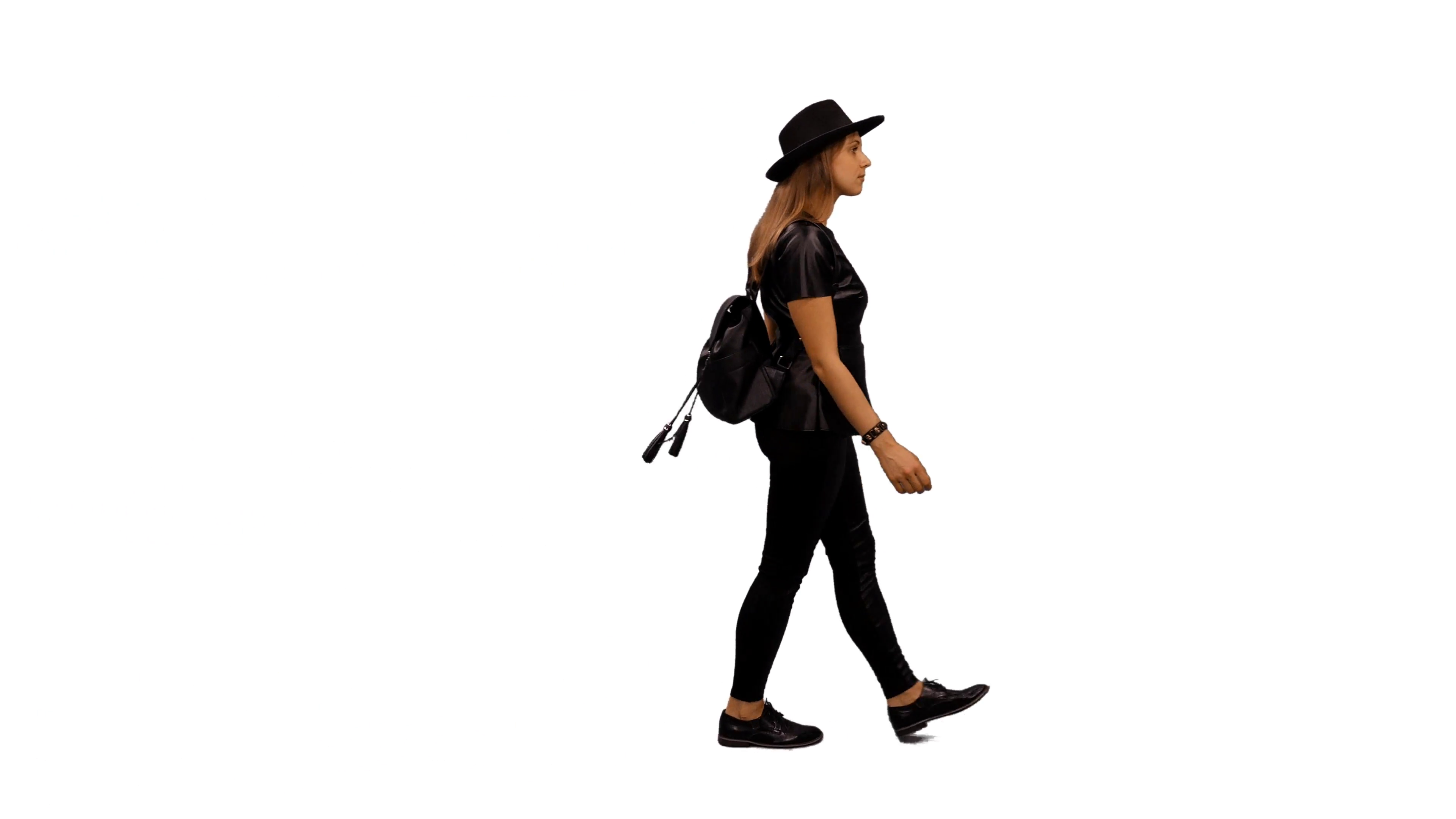 3840x2160 Young Woman In Leather Jacket Walking, Side View, Full Hd Shot