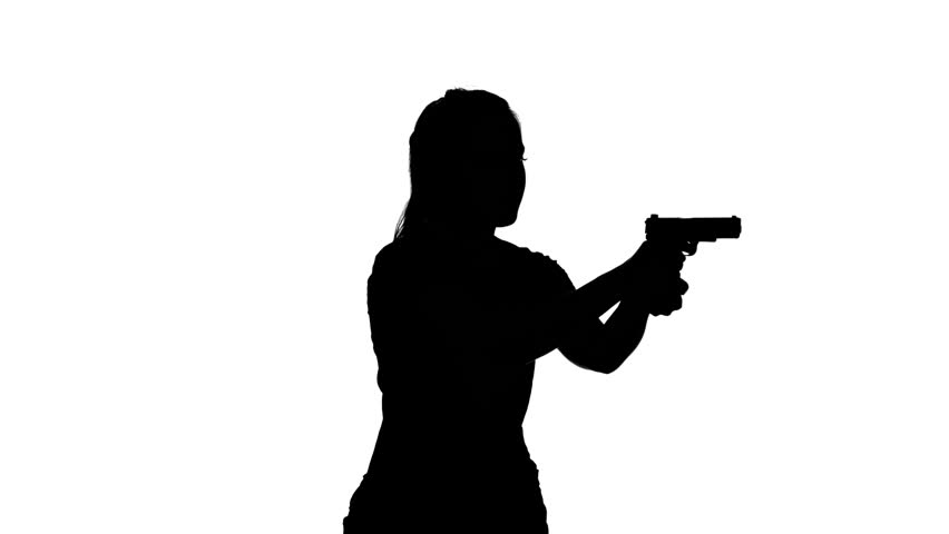 852x480 Woman Raises The Gun And Blows The Barrel. Silhouette. White Stock