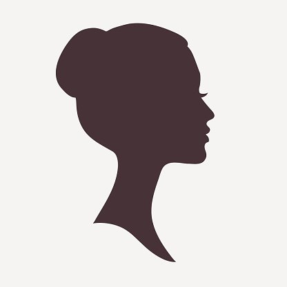 416x416 Woman Face Silhouette With Stylish Hairstyle Premium Clipart