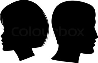 320x207 Woman Face Profile. Female Head Silhouette. Haircut Hair Of Medium