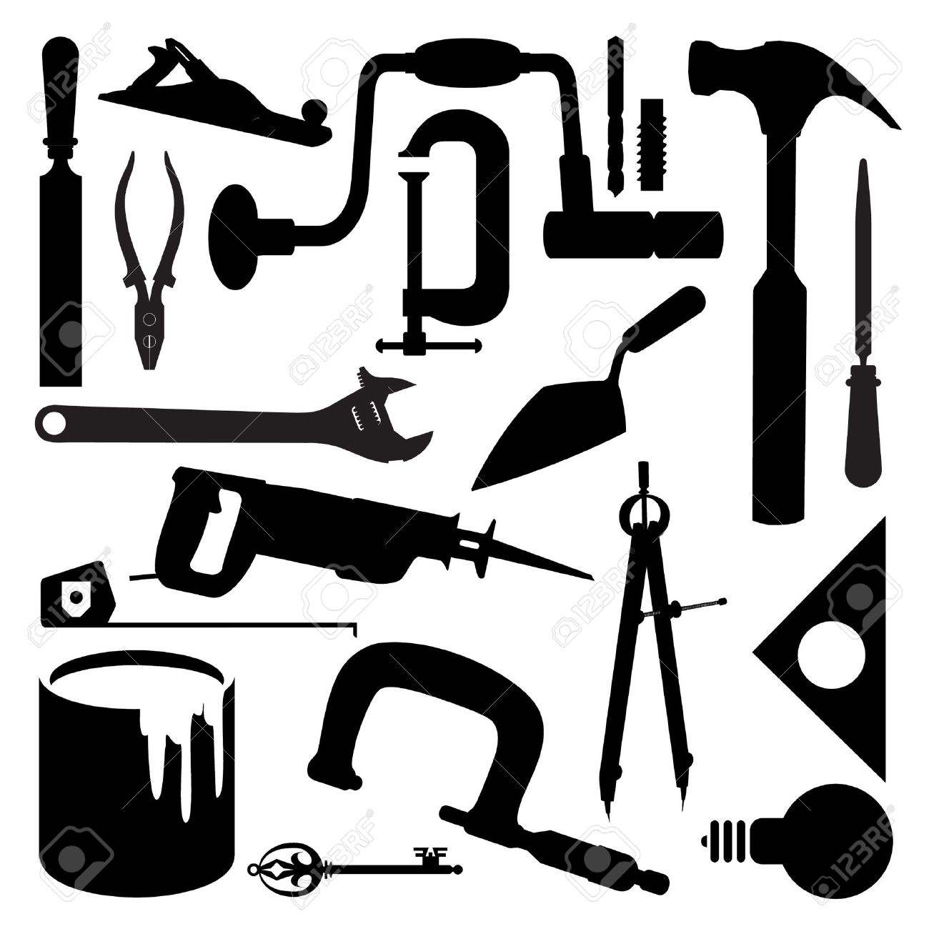 1300x1300 Woodworking Tool Silhouettes