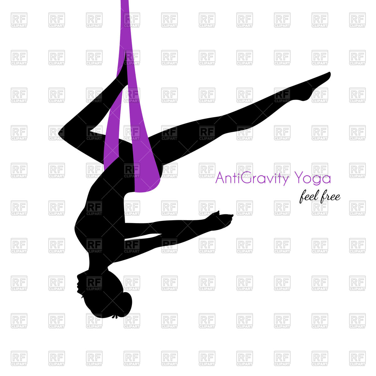 1200x1200 Silhouette Of Woman In Anti Gravity Yoga Poses Royalty Free Vector