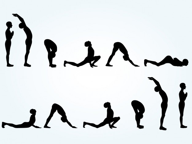 626x469 Yoga Pose Silhouettes Vector Free Download