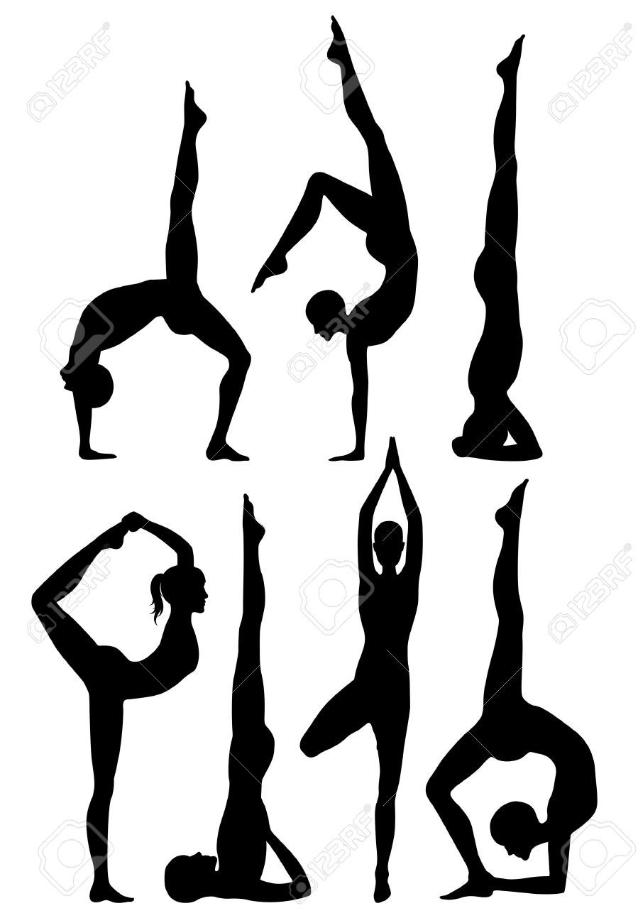 899x1300 Yoga Poses Silhouettes Royalty Free Cliparts, Vectors, And Stock