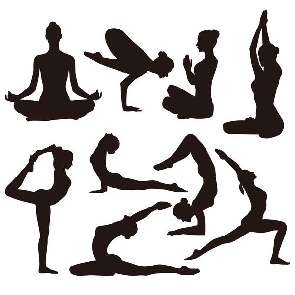 600x600 Yoga Pose Black Silhouette Vector 02