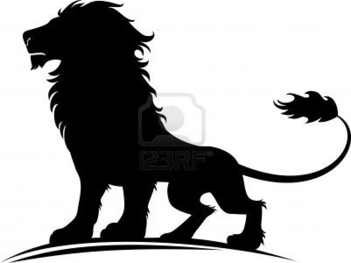 1203x900 Lions Tattoos Images Of A Silhouette Proud Lion Stock Photo