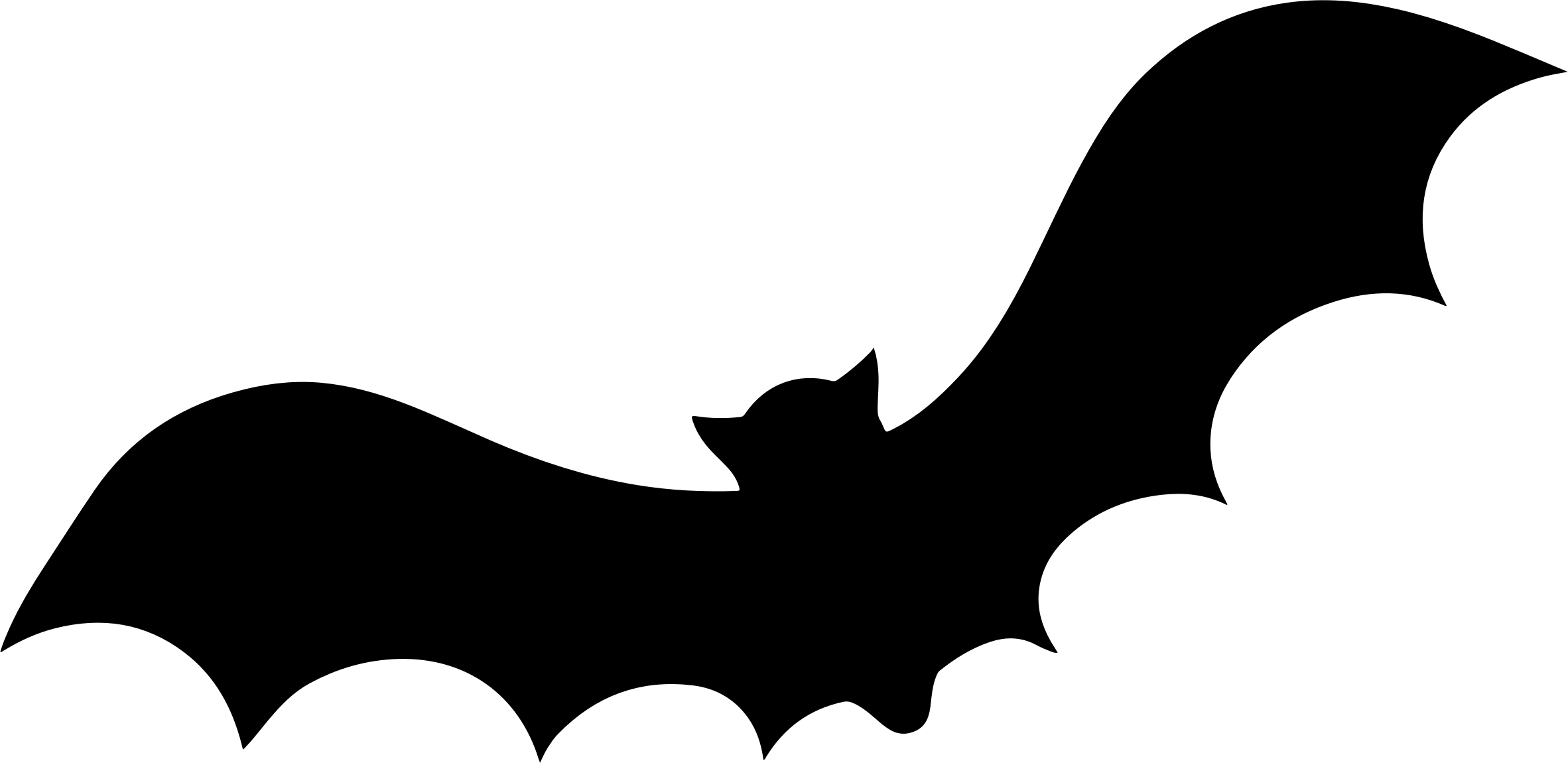 2364x1150 Silhouette Clipart Bat