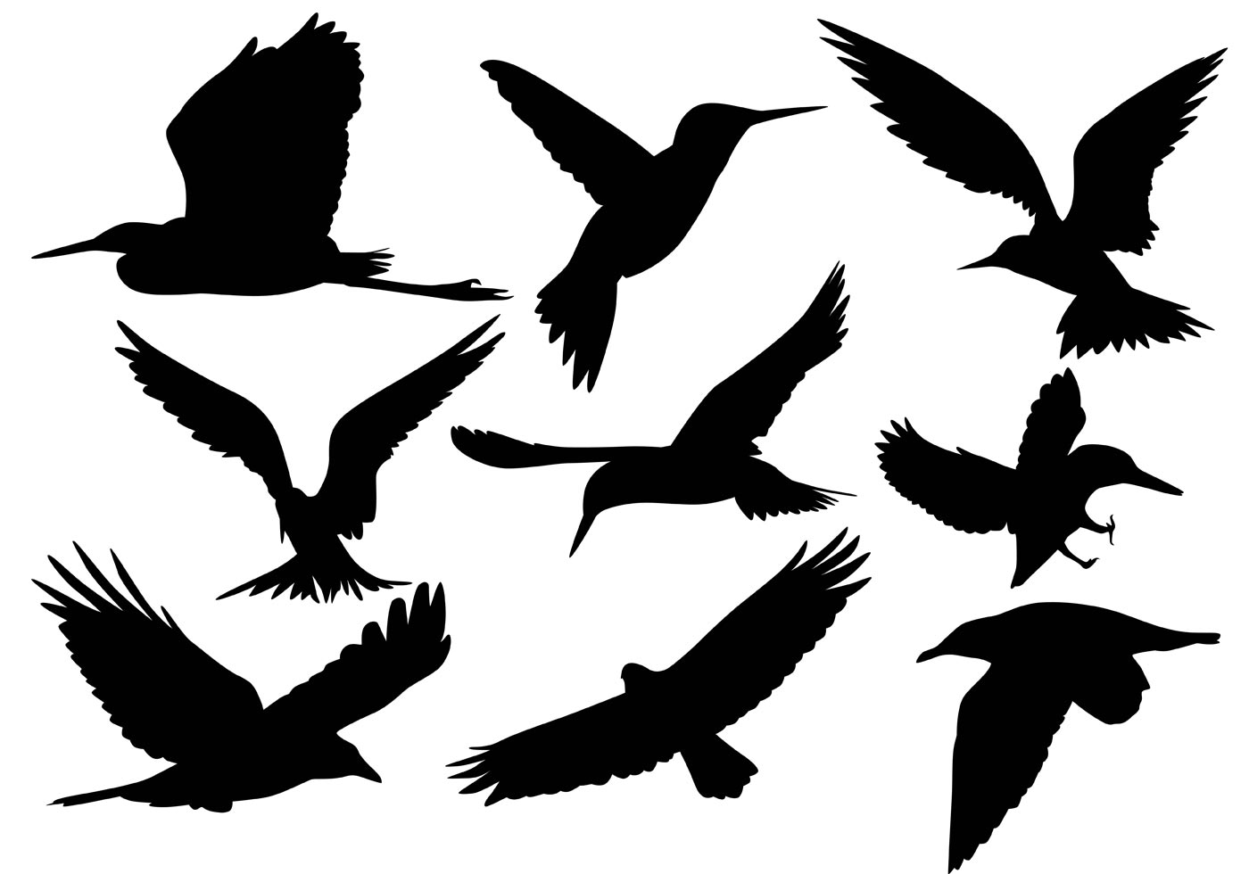 1400x980 Flying Bird Silhouette Vectors