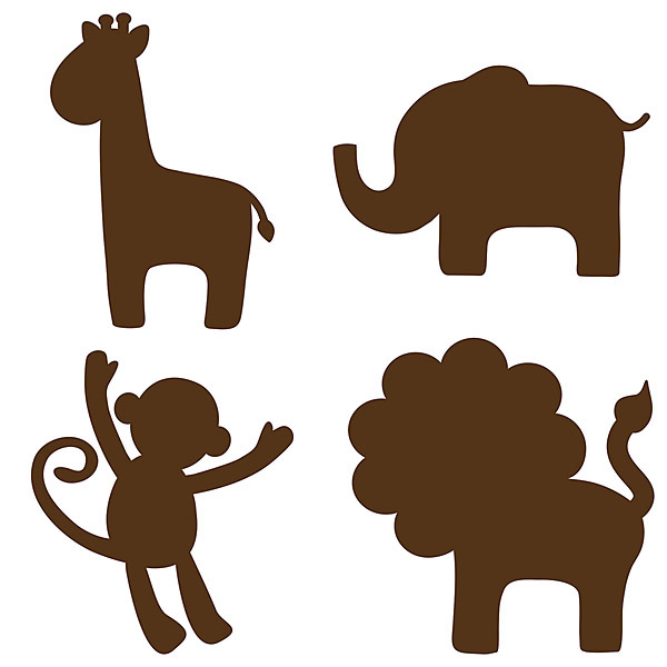 600x600 Espresso Brown Jungle Animal Removable Wall Decals