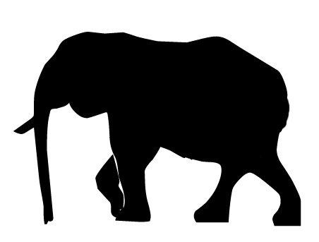 452x343 Simple Elephant Silhouette Clip Art
