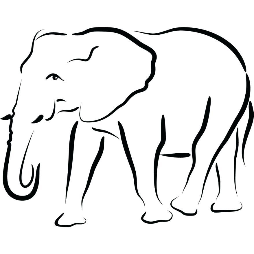 878x878 Elephant Outline Template Elephant Black Silhouette Stock Photo