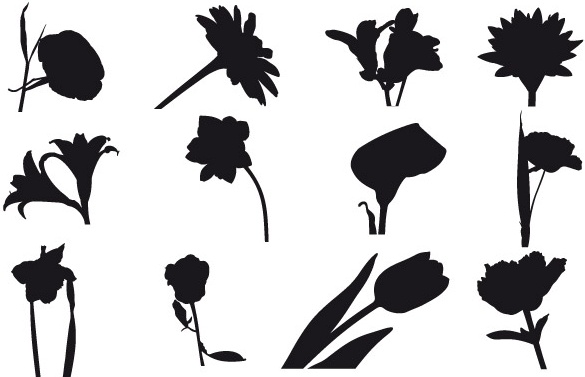 585x377 Flower Silhouette Vector Free Vector Download (14,874 Free Vector