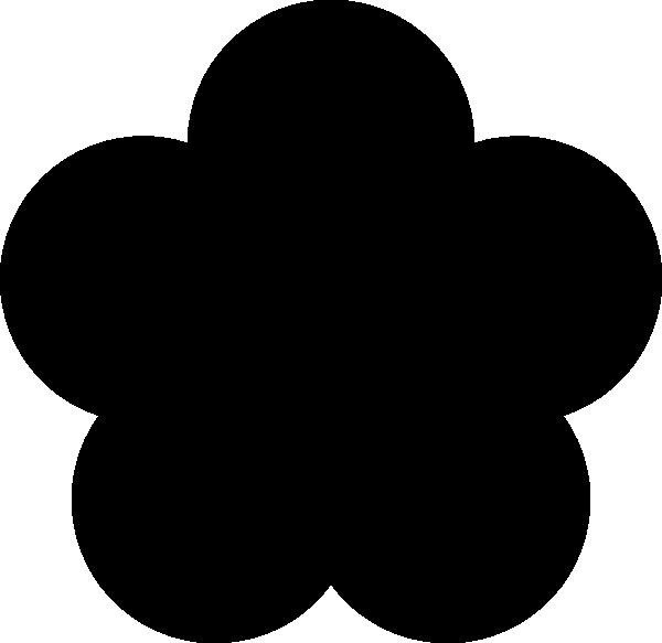 600x583 Big Black Five Petal Flower Clip Art