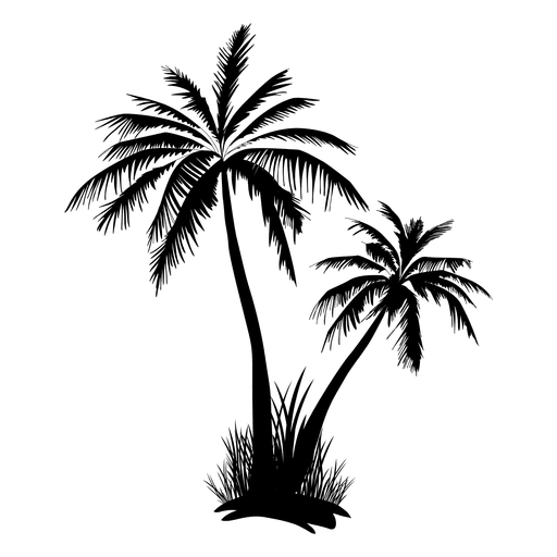 512x512 Two Palm Tree And Grass Silhouette