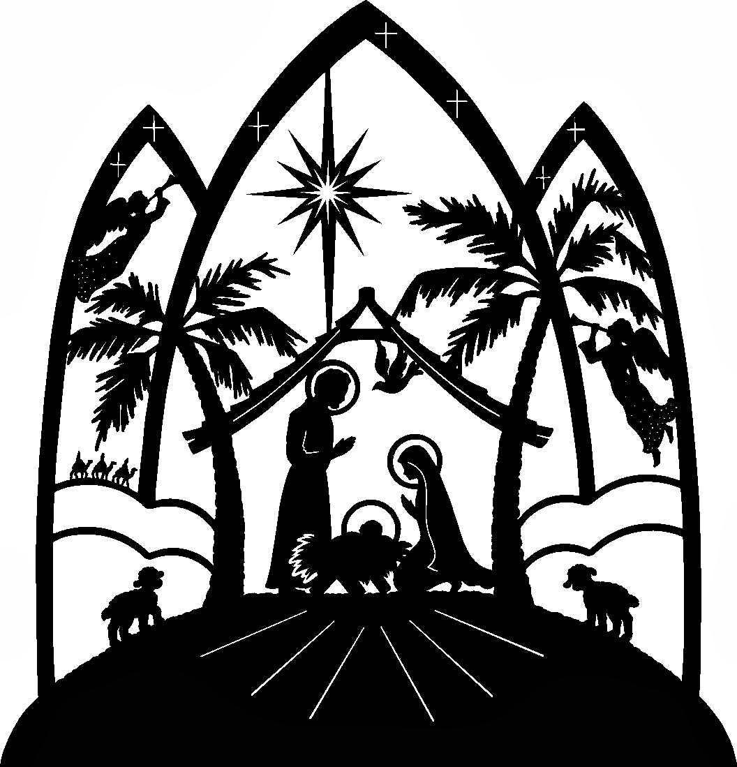 1056x1099 Black Amp White Clipart Nativity