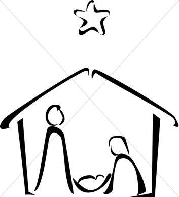 353x388 Black And White Nativity Sketch Art Nativity