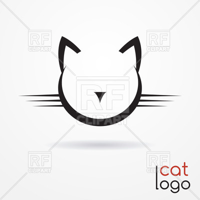 400x400 Stylized Simple Silhouette Of Cat's Face Royalty Free Vector Clip