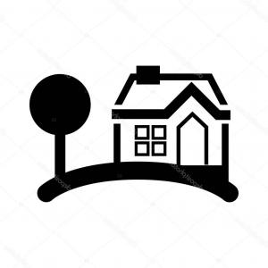 300x300 Photostock Vector Row Of A Simple House And Tree Silhouette Sky