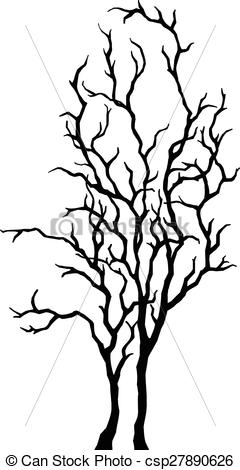 240x470 Tree Silhouette. Abstract Decorative Black Simple Tree, Vector