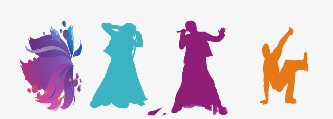 650x233 Silhouettes Of People Singing, Sing A Song, Sketch, Dancing Png