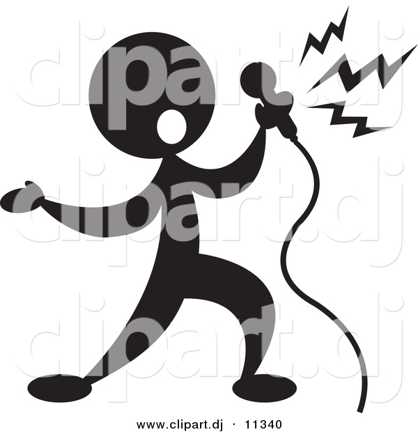 600x620 Vector Clipart Of A Person Singin Into Microphone