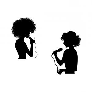 300x300 Woman Singing Silhouette Set Vector Arenawp