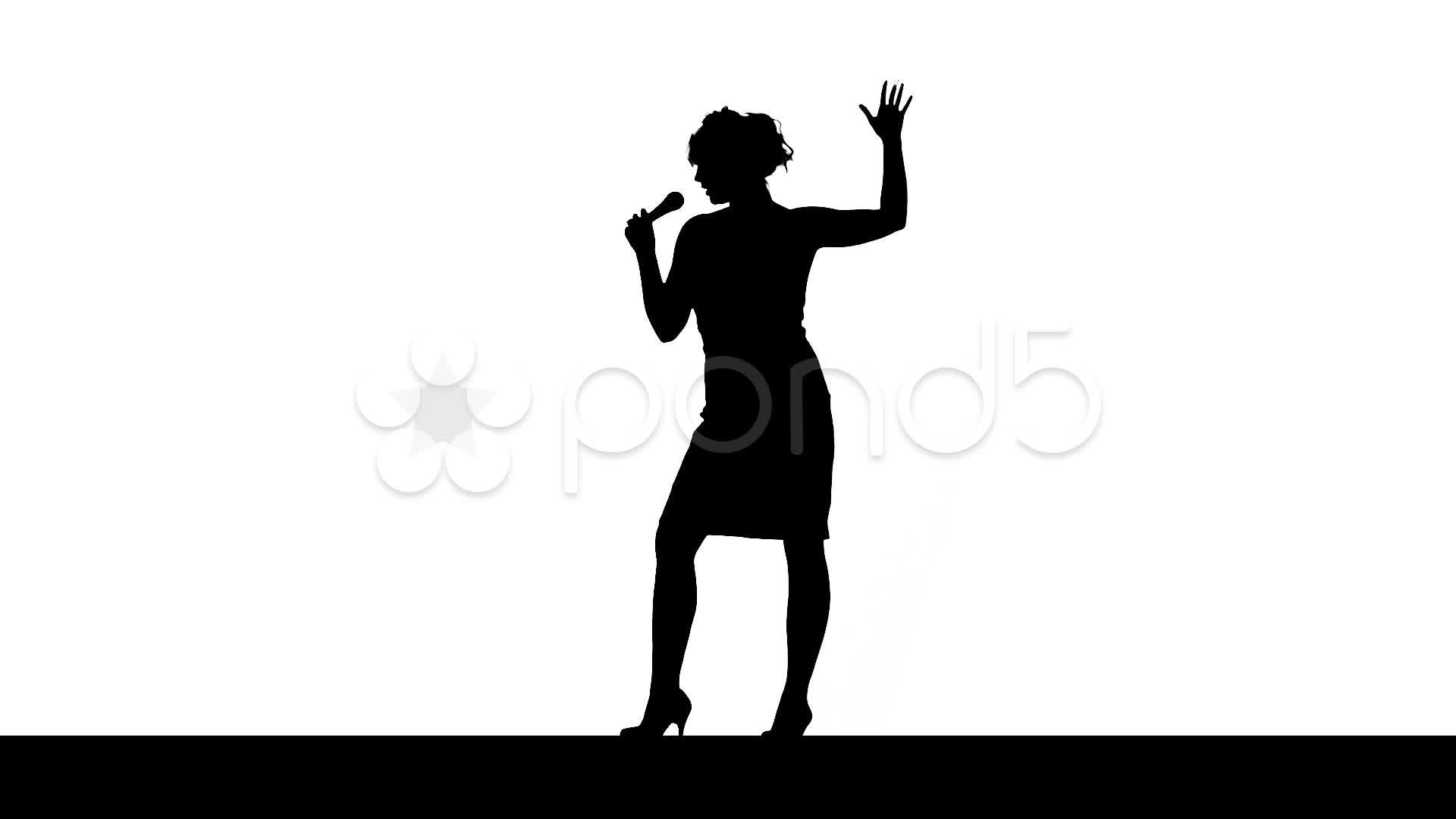 1920x1080 Woman Singer, Silhouette ~ Hi Res Video