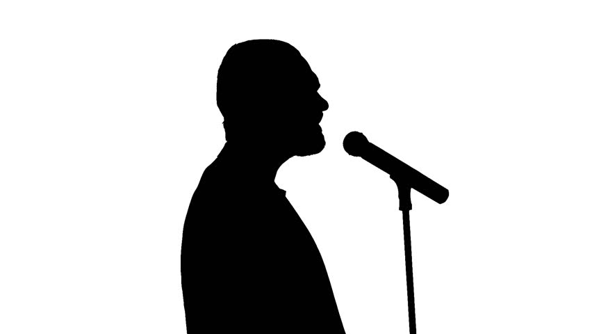 852x480 Black Silhouette Of Microphone And Vigorously Singing Singer