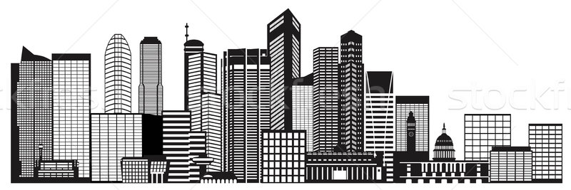 800x267 Singapore City Skyline Black And White Illustration Vector