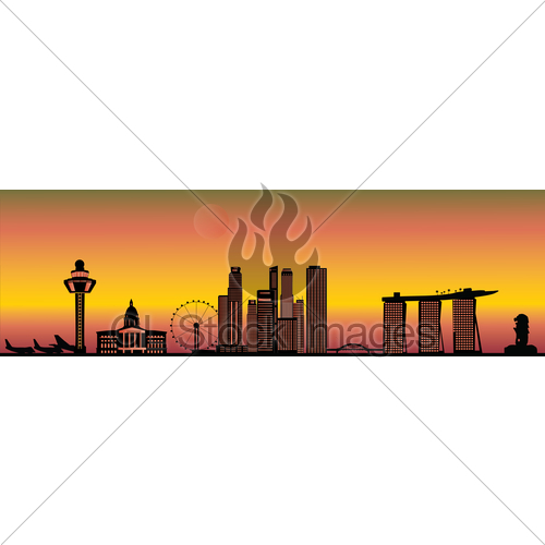 500x500 Singapore Evening Skyline Gl Stock Images