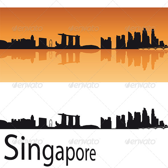 590x590 Singapore Skyline In Orange Background By Paulrommer Graphicriver