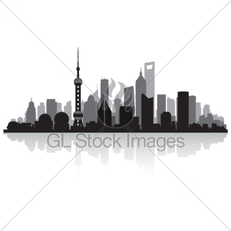 325x325 Shanghai China City Skyline Vector Silhouette Gl Stock Images