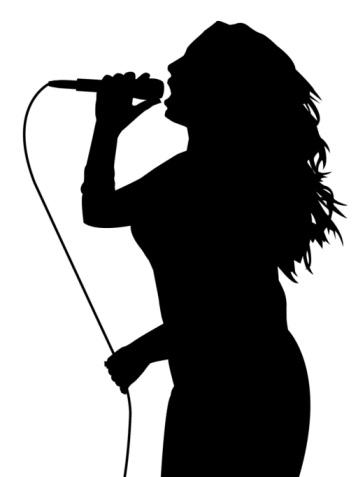 358x477 Girl Singer Silhouette Clipart