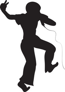 212x300 Vector Singer Silhouette Royalty Free Stock Image