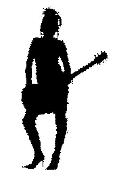 414x600 Girl Rocker Silhouette Vector, Free Vectors